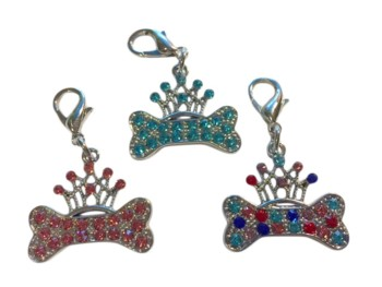 Rhinestone Bone & Crown Pendant