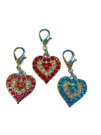Rhinestone Heart Pendant Charm