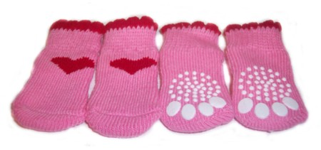 Pink Red Heart Socks-